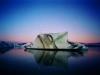 Icebergs at sunrise in Jokulsarlon Glacier Lagoon, Vatnajokull National Park, south east Iceland.